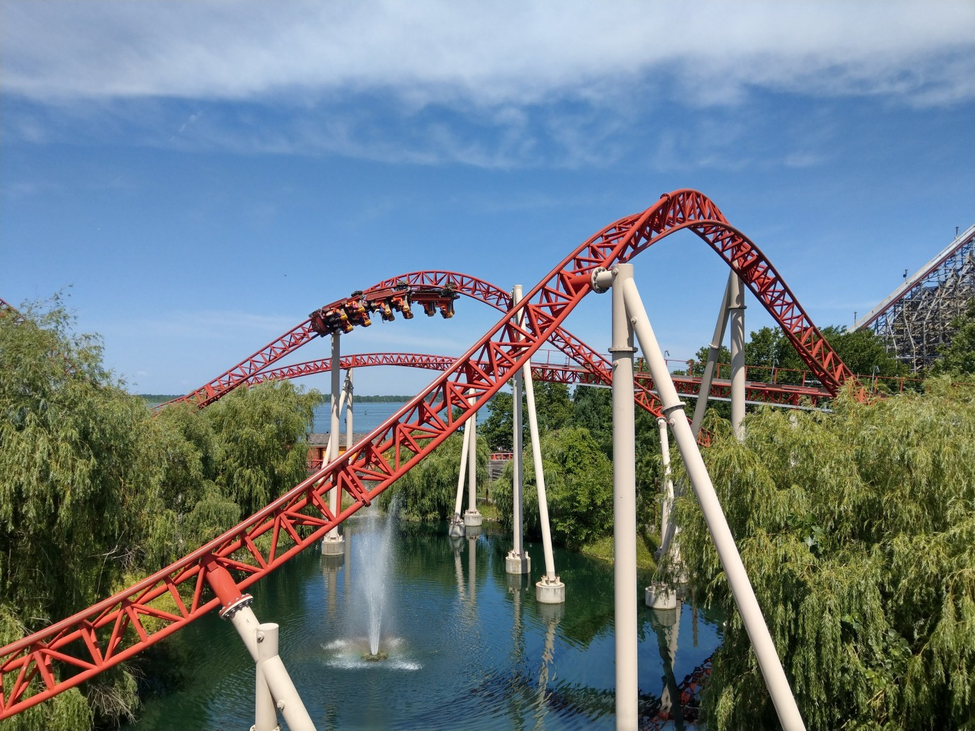 Maverick at Cedar Point travelling through one of its inversions