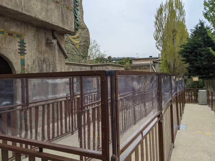 Plastic barriers in the queue line for Croc Drop at Chessington