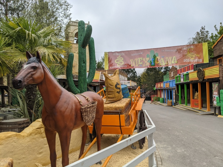 Mexicana at Chessington showing horse and cart theming and banner