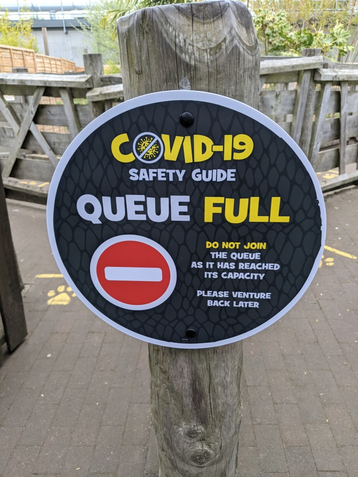A sign at the entrance to a queue line at Chessington asking guests not to join if queue has reached capacity