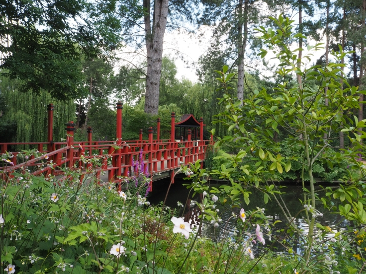 View of Jubilee Gardens with an oriental style bridge and trees in the foreground